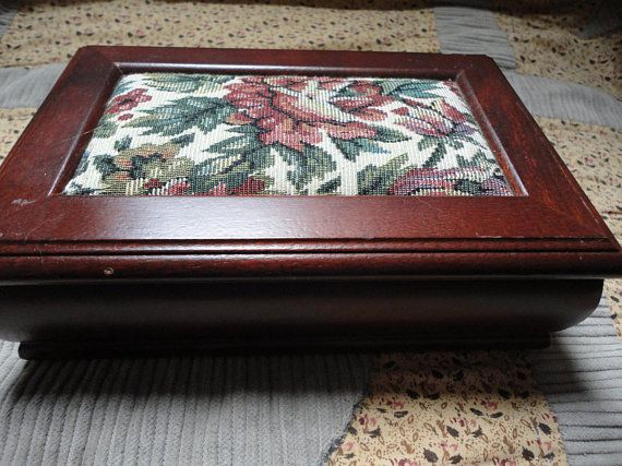 Vintage Wooden /&  Floral Tapestry Jewelry Box