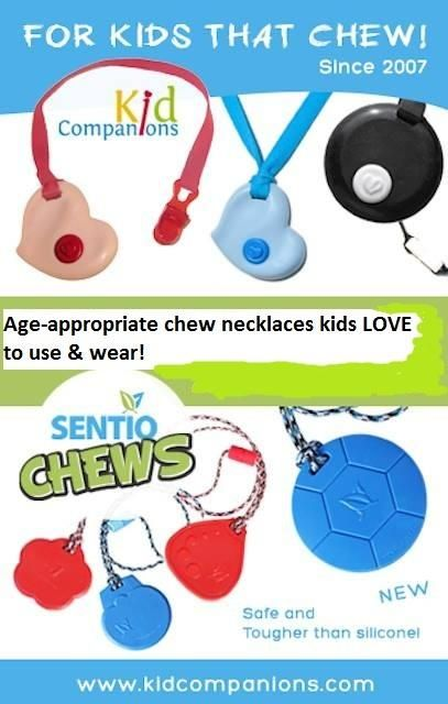 Biting? We have TWO very different chew necklaces for you to choose from.  ♥Our original (2007) KidCompanions -Chewelry and our (Nov.2013) SentioCHEWS. Why two? ♥ Folks who have #sensory issues do not like all the same textures so each oral-motor tool is made with two different materials.  www.kidcompanions.com