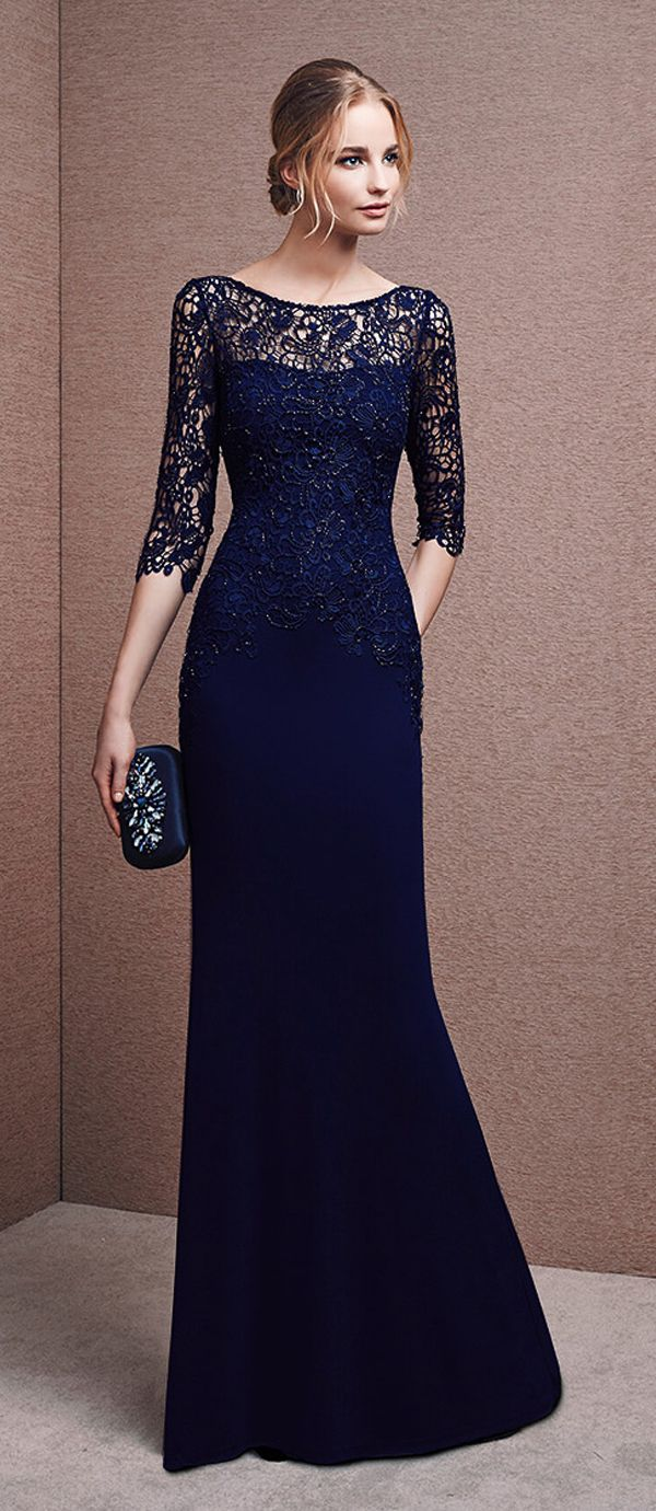 Fantastic Lace & Chiffon Bateau Neckline Three-quarter Length Sleeves Sheath Evening Dresses with Beadings & Rhinestones