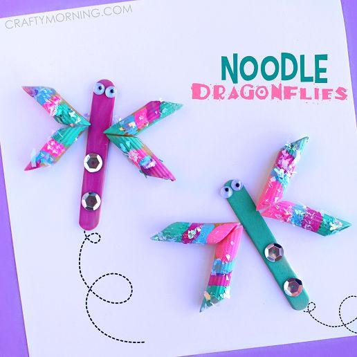 Make pretty noodle dragonflies! This is a fun summer or spring craft for kids to make.