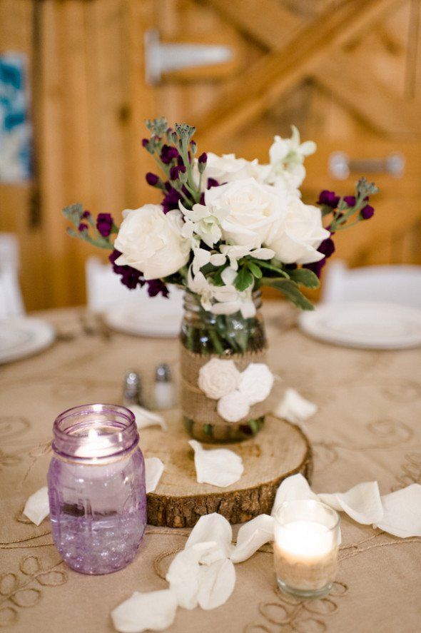 Purple Rustic Wedding Country Wedding Centerpieces