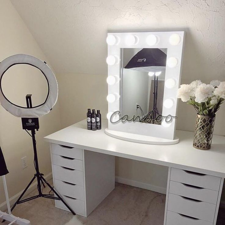 White Hollywood Makeup Vanity Stage Beauty Mirror with LED Bulb Light Dimmer. Image result for LED dimmer Mirror Hollywood makeup vanity