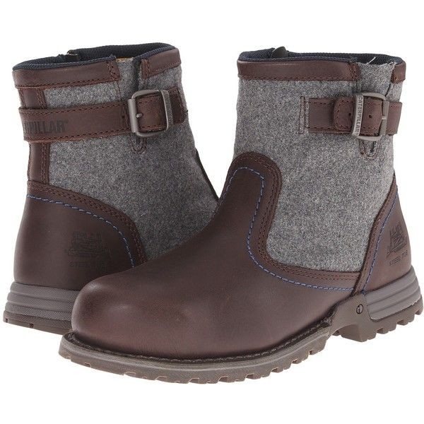 Caterpillar Jace Steel Toe (Mulch) Women's Work Boots ($134) ❤ liked on Polyvore featuring shoes, boots, mid-calf boots, platform work boots, lightweight steel toe boots, oil resistant work boots, side zip work boots and steel toe boots