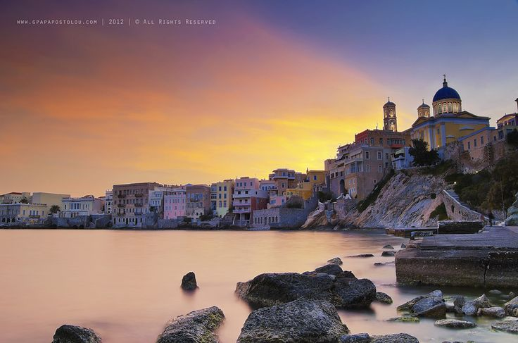 fabulous sunset in ermoupoli by George Papapostolou on 500px
