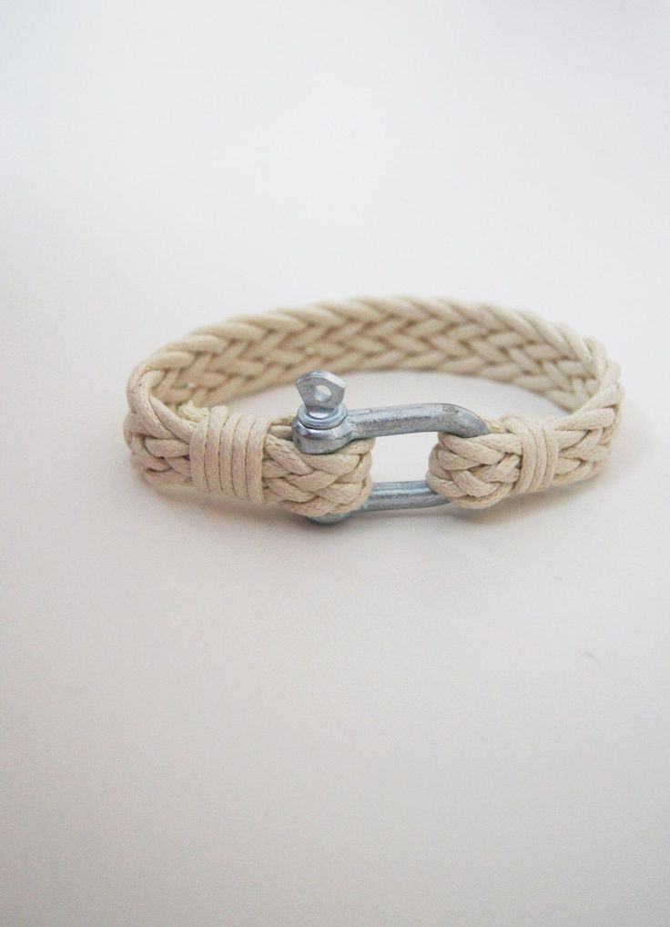 FREE  Shipping Men's Ecru Bracelet Simple  Bangle Shackle Nautical  Bracelet,  Paracord Bracelet, Mens Jewelry, woven cord Bracelet, by ArtofAccessory on Etsy https://www.etsy.com/listing/231793719/free-shipping-mens-ecru-bracelet-simple