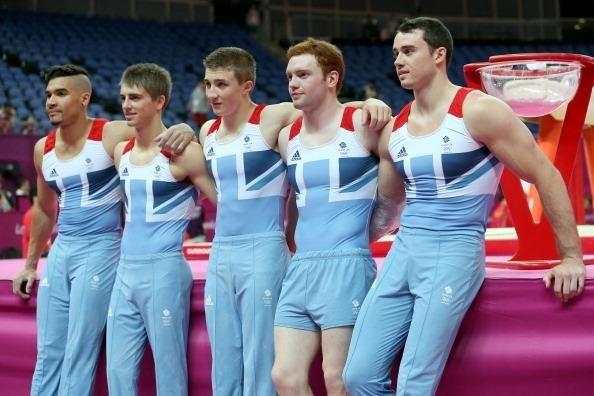 The British men's gymnastics team: Louis Smith, Max Whitlock, Sam Oldham, Dan Purvis and Kristian Thomas.