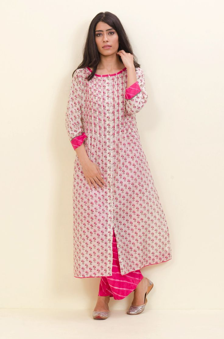Off White Pink Embroidered Kurta – Sampada