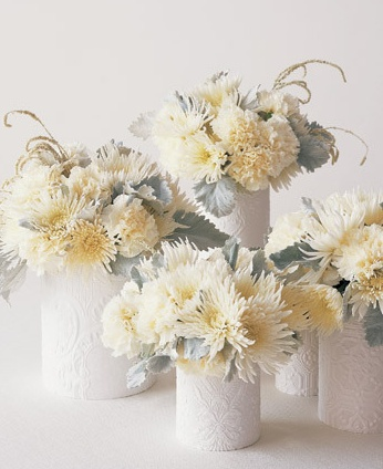 snowy white centerpieces winter wedding event party