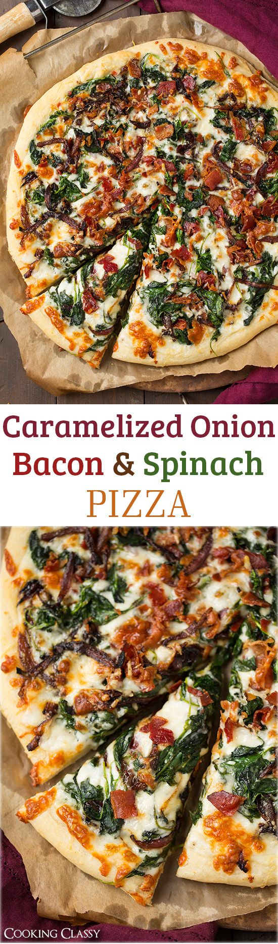 Caramelized Onion, Bacon and Spinach Pizza: layered with white sauce, mozzarella, parmesan, crispy bacon, fresh spinach, and caramelized onions.