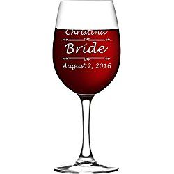 Personalized Stemmed Wine Glass with Custom Engraving - Bridesmaid Gifts