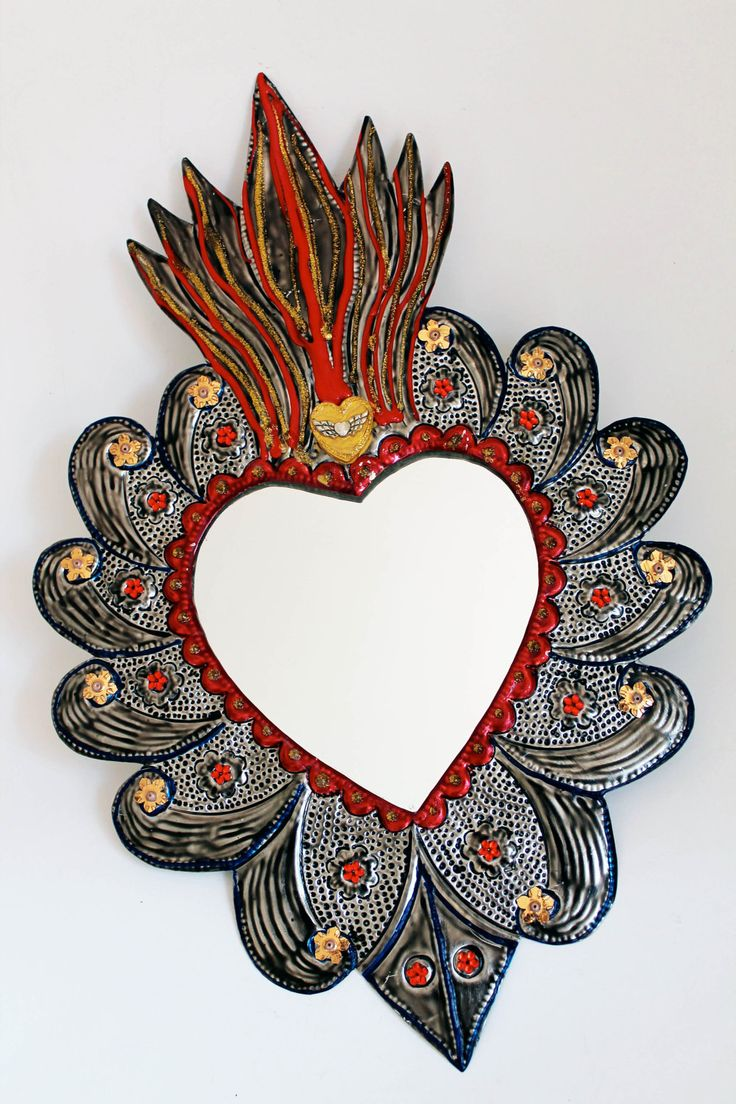 Metal heart ornaments - Sacred Heart Tin Metal Mirror Mexican Folk Art Hammered Tin Mixed Media Silver Metallic Red Wedding Gift
