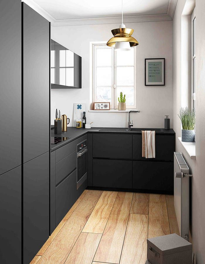 Amazing Black Kitchen Love The Contrast With Floorboards Add Warmth To Dark Es Timber