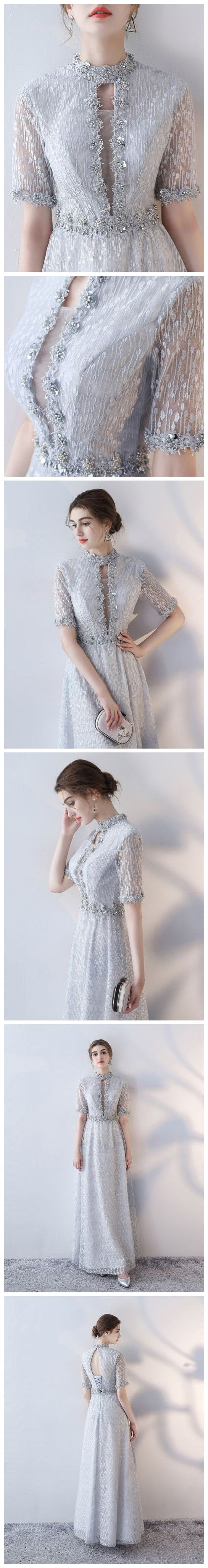 CHIC A-LINE HIGH NECK SILVER LACE MODEST LONG PROM DRESS  EVENING DRESS AM561 #fashion #style #long #prom #party #evening #beauty #chic #love #bridal #promdress #promdresslong #longpromdress #eveningdress #promdresses #silver