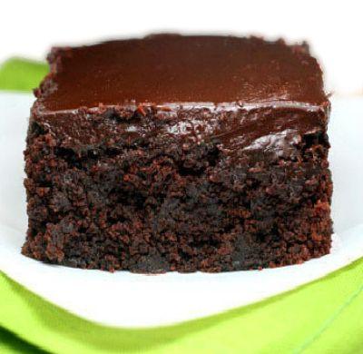 The moistest, fudgiest triple chocolate, yogurt zucchini cake you will ever have!  The chocolate ganache seeps into the cracks!