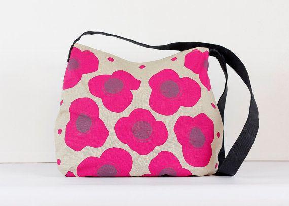doabit.etsy.com Fuchsia poppies messenger bag is made from hemp and organic cotton
