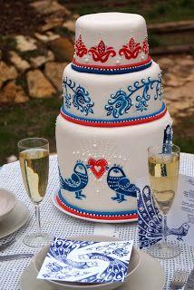 blue-bird wedding cake
