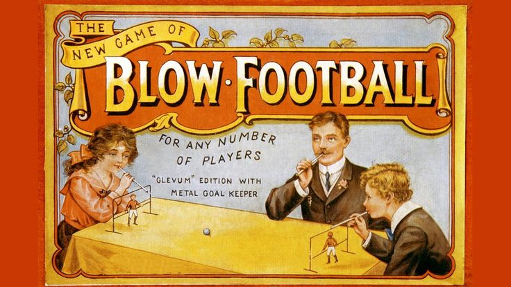 The front of an early 20th century toy board game called, 'The new game of blow football.'