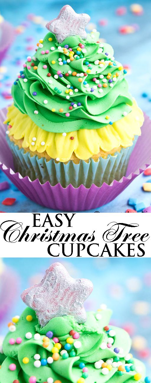 Learn to make easy CHRISTMAS TREE CUPCAKES, using this video tutorial. These simple Christmas cupcakes are made with buttercream frosting and sprinkles. Best Christmas cupcakes for kids and great for serving at Holiday parties or even giving others as a homemade gift. From cakewhiz.com