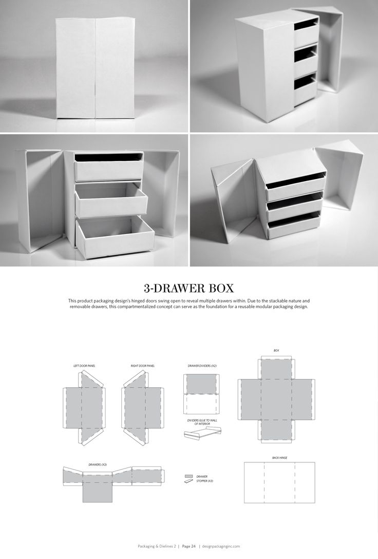 3-Drawer Box – structural packaging design dielines