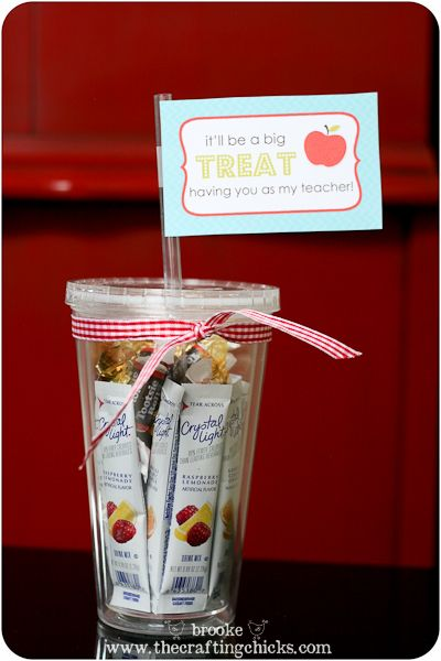 Teacher Treat Cup...As a teacher, I would love to have this as a gift.  It's always great to have snacks in the classroom, and coffee mugs are great, but this is much more useful!!