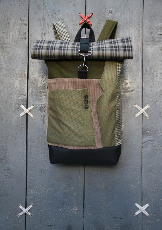 """Upcycled olive green and beige roll top rucksack using lapel and a sleeve from men's suit as a pocket on the front, by """"EatingTheGoober"""""""