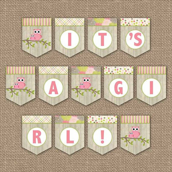 Owl Baby Shower Banner It 39 S A Girl Digital Pdf File