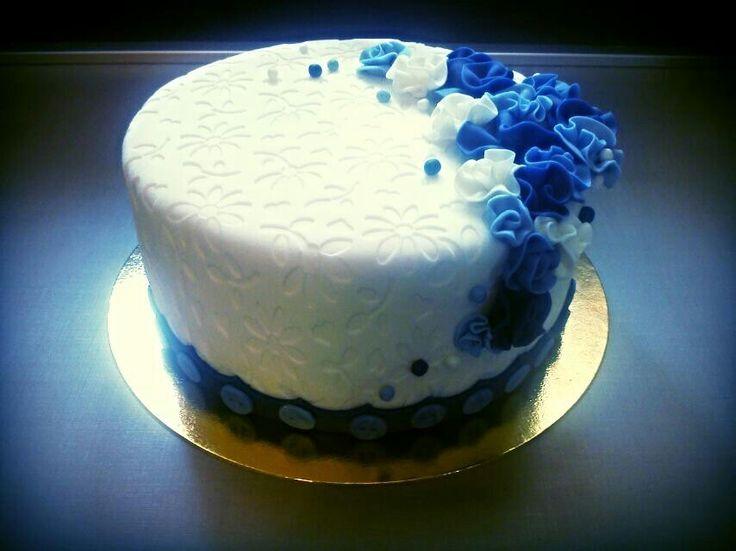 Blue & white cake..