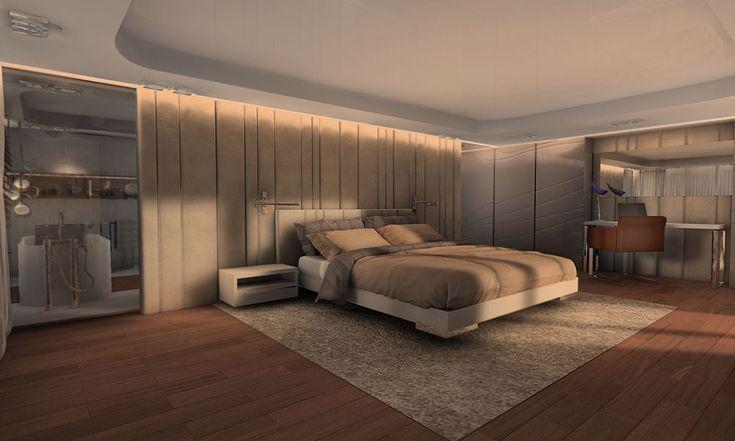 Projekt sypialni w domu w Saint Tropez
