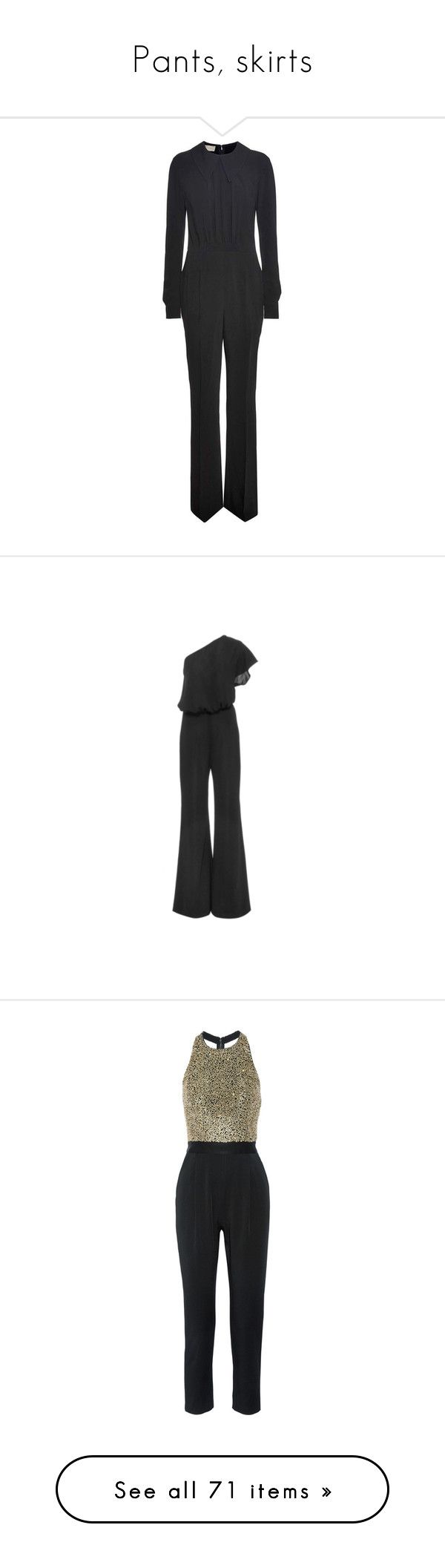 """Pants, skirts"" by bliznec ❤ liked on Polyvore featuring jumpsuits, jump suit, long sleeve jump suit, one sleeve jumpsuit, one shoulder jumpsuit, long sleeve jumpsuit, satin jumpsuit, embellished jumpsuit, black and loose jumpsuit"