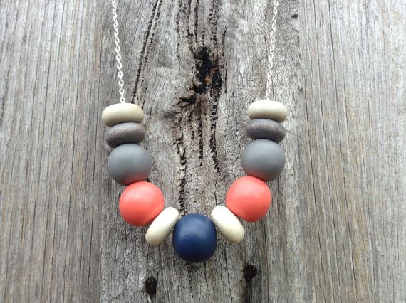 Handmade clay bead necklace by ASpaceMadeBeautiful on Etsy