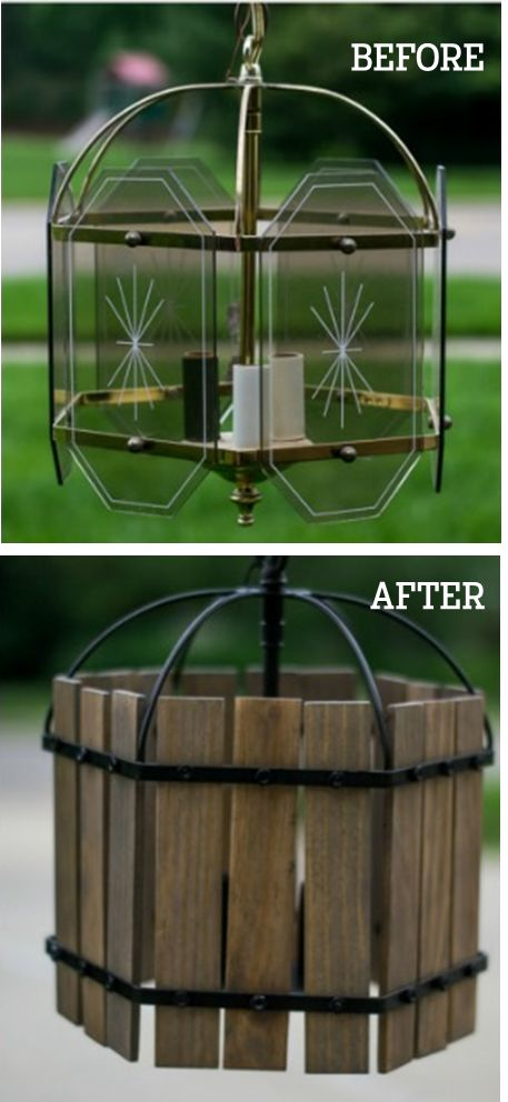 We're impressed with the way InfarrantlyCreative.net transformed an old fuddy-duddy-looking glass and brass chandelier with just some paint, stain and paint sticks. See how she did it here.
