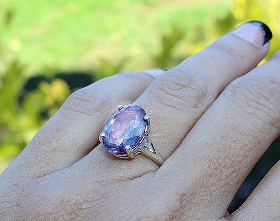 1 Ct Alexandrite /& Diamond Round Ring .925 Sterling Silver