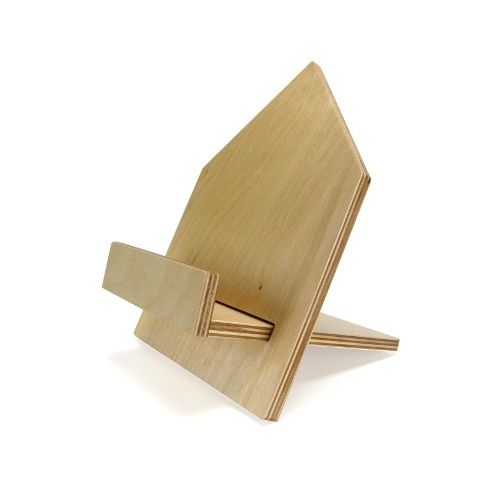 Creative book stand made of plywood impregnated with transparent varnish. Made by Neo-Spiro.