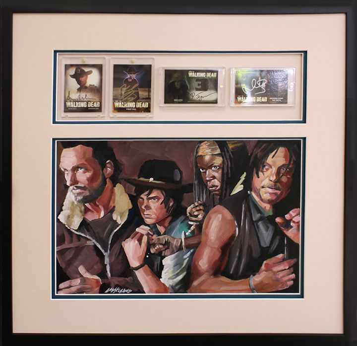 Walking dead cards and illustration framed. Designed and custom framed at My Framing Store in Edison, NJ. 732-777-0887 www.MyFramingStore.com
