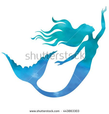 Mermaid swimming, vector silhouette illustration.