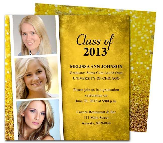 Sparkly filmstrip inspired Printable DIY Grad Announcements : Film Graduation Party Announcement Template editable in Word, Publisher, Apple iWork Pages, and OpenOffice. Available in purple, blue, teal, green, orange, pink and gold (shown).