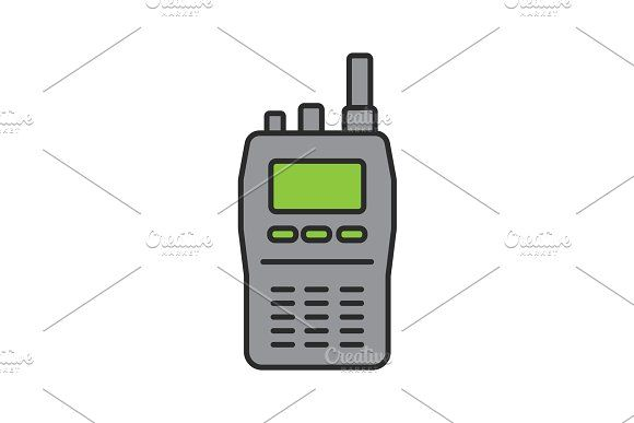 Walkie Talkie Color Icon Walkie Talkie Icon Police Radio