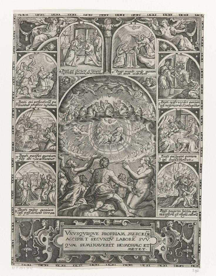 Aanbidding van de heilige Drieëenheid en de acht zaligsprekingen, Anonymous, 1560 - 1599