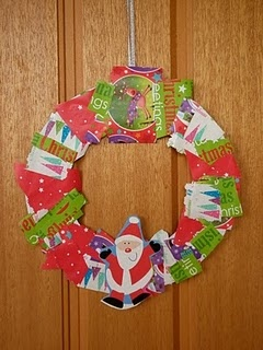 Wrapping paper wreath