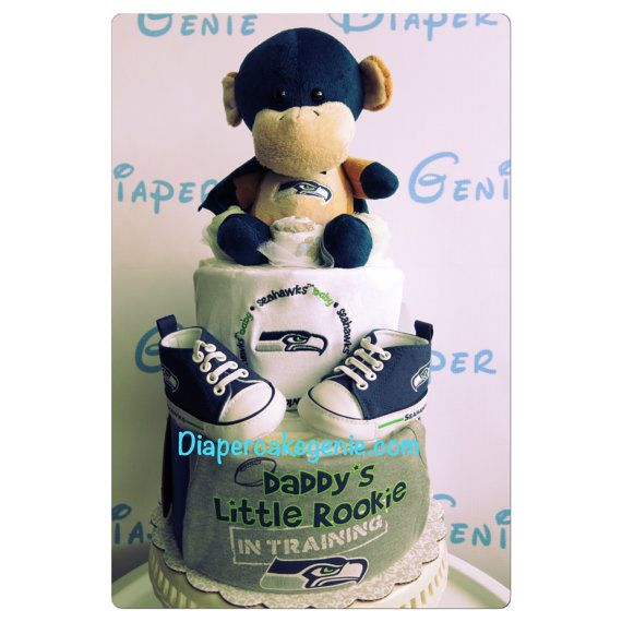 NFL Seattle Seahawks diaper cake for a baby shower! More details by DiaperCakeGenie on Etsy
