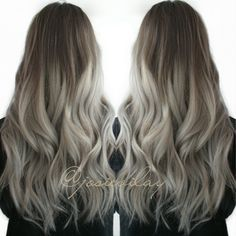 hair ombre brown to grey - Google Search