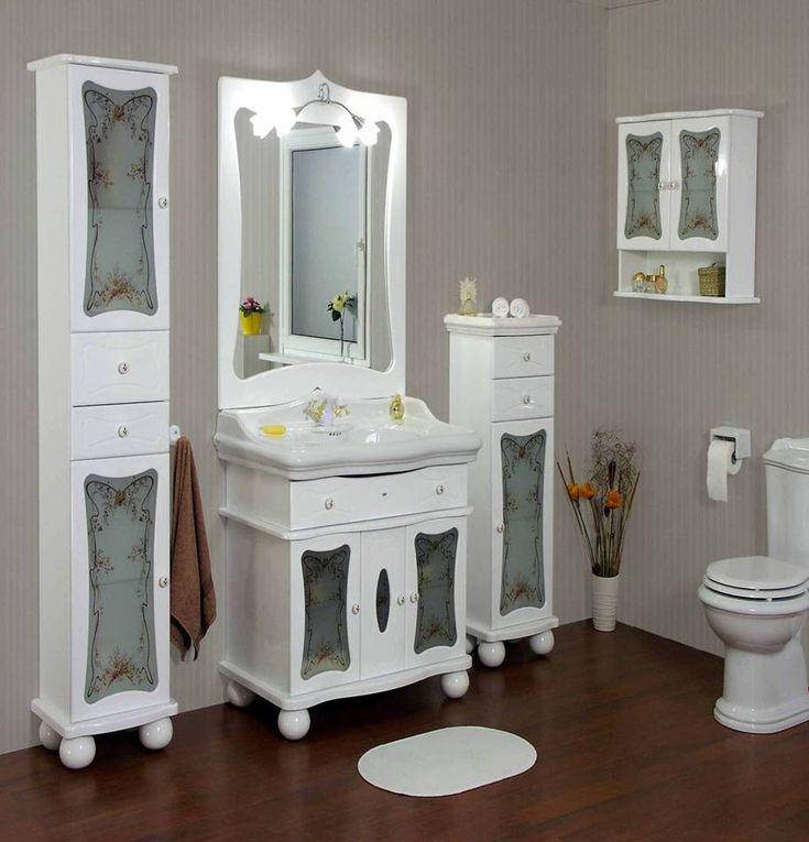 Мебель белого цвета в дизайне ванной комнаты