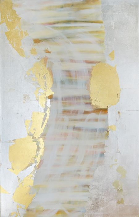 Spring rain, 115x70cm,oil and gilded metal leaf on canvas, 2016