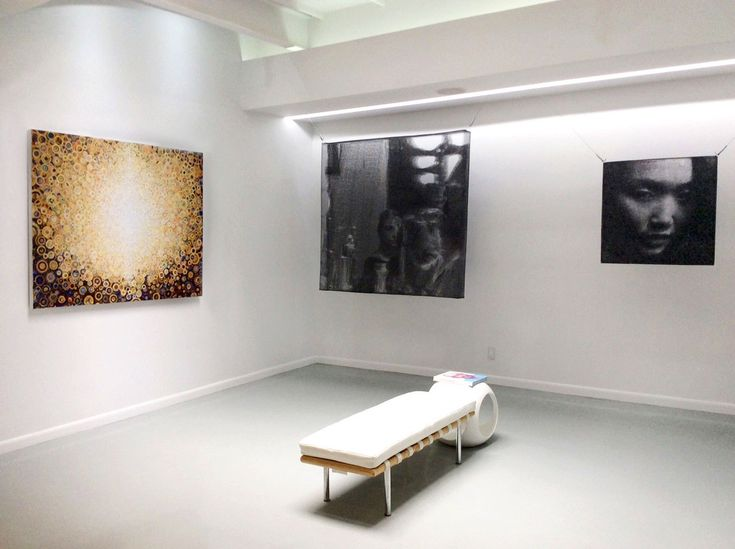 Artwork by Randall Stoltzfus (left) and Seung Mo Park