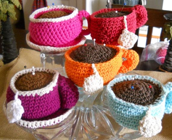 Teacup Pincushions by Grandmaspleasures on Etsy, $10.00