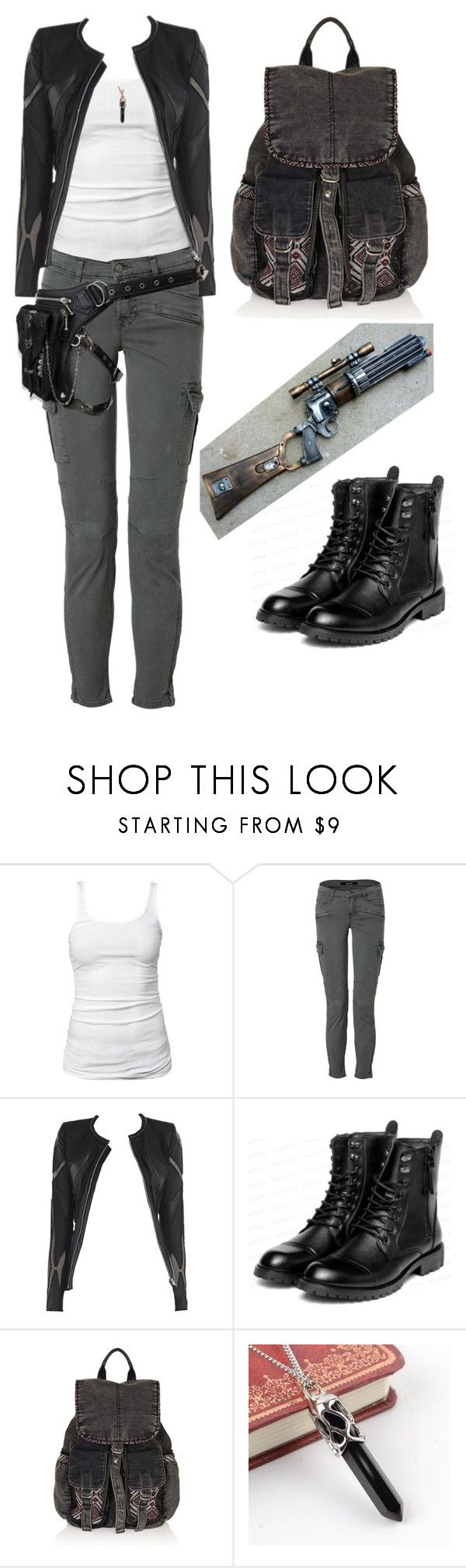 """""""Dystopian future hero"""" by avalonsappire ❤ liked on Polyvore featuring James Perse, J Brand, Allegra, yeswalker, Topshop, Trend Cool and Holster"""