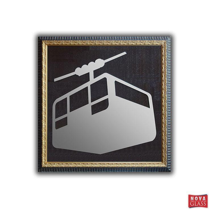 Καθρέπτης διακοσμητικός LIFT 105Χ105 με ξύλινη κορνίζα | Nova Glass e-shop