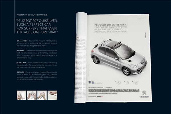 Silver - Creative Use of Traditional advertising formats, Wax Ad, Peugeot, Loducca
