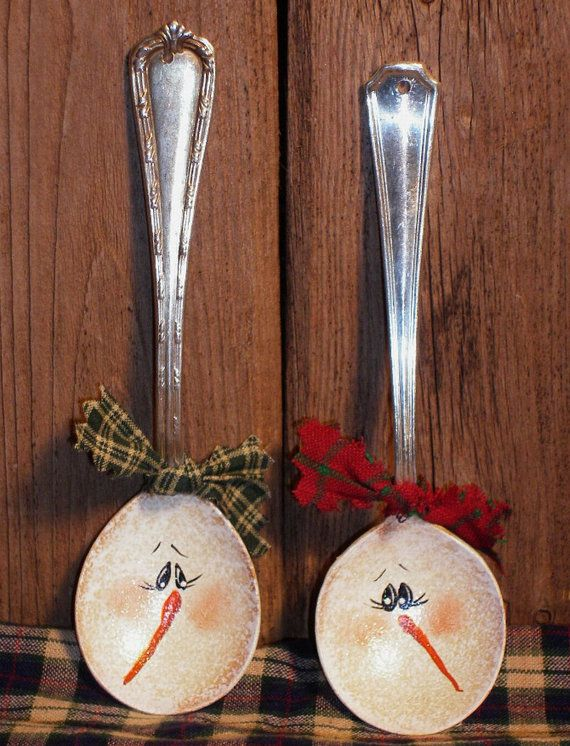 Snowman Silver Spoon Christmas Ornament spoon is pounded flat and painted on