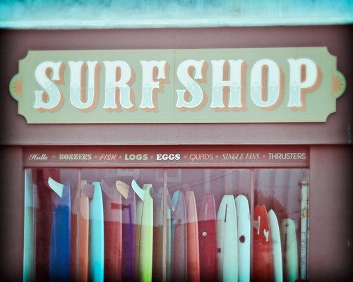 Surf Photography, Seaside California Beach Decor Surf Shop Photography, Vintage Style, Teal, Surfboards - Old Time Surf (8x10) Photograph